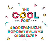 Modern trendy geometric colorful font. Vector cheerful design