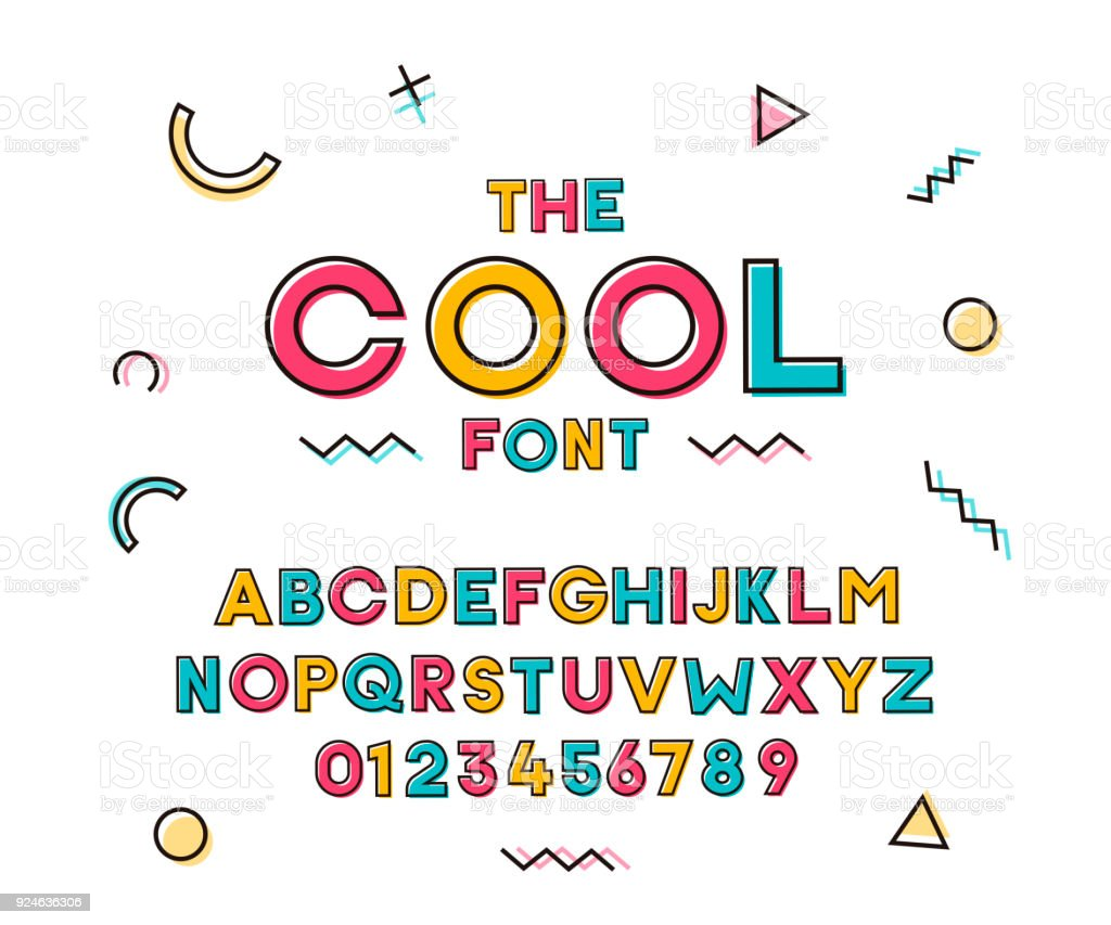 Modern trendy geometric colorful font. Vector cheerful design vector art illustration