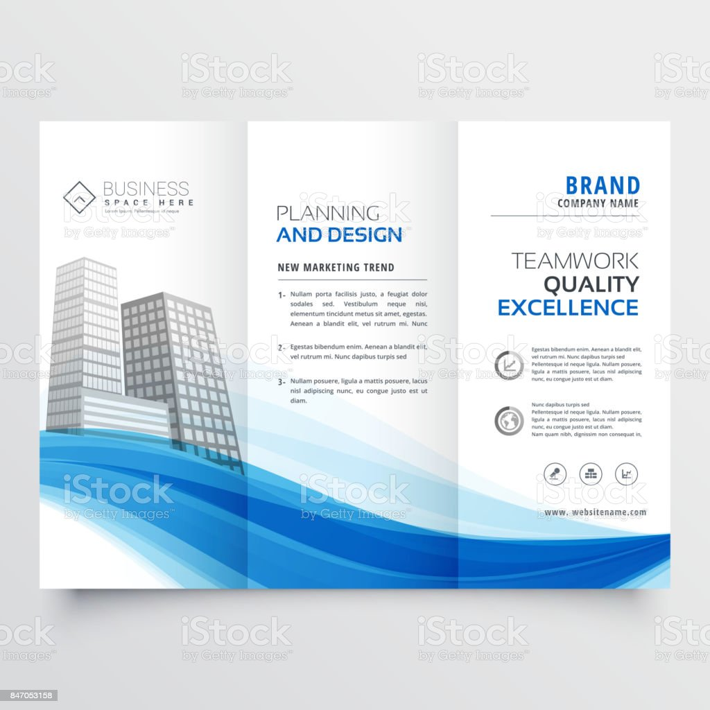 modern trifold brochure design layout template with blue wave vector art illustration