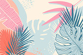 Modern tropical background. Jungle plants nature backdrop. Summer palm leaves wallpaper. Exotic botanical design for travel posters, wedding invitation, web banners. Minimal style vector illustration.