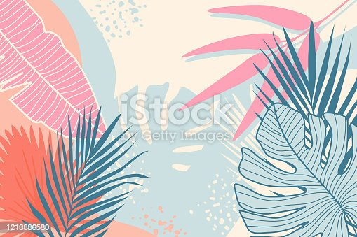 istock Modern tropical background. Jungle plants nature backdrop. Summer palm leaves wallpaper. 1213886580