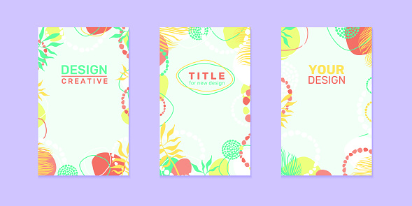 Modern tropical floral covers set, minimal covers design. Colorful exotic background, vector illustration. Vector summer, autumn, spring   leaves cover templates creative design.