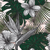 A cool seamless tropical floral pattern set mostly in a subdued black and white.