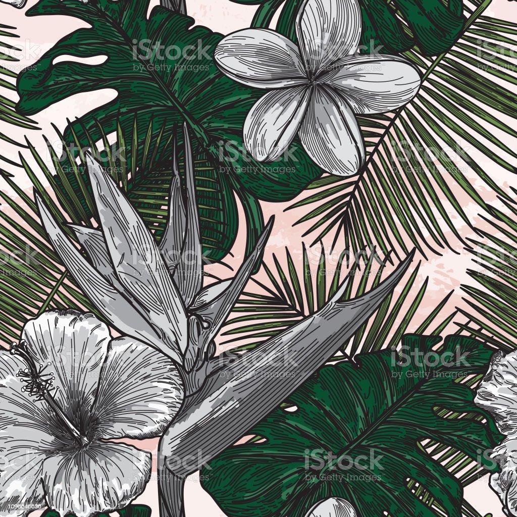 Modern Tropical Floral Pattern vector art illustration