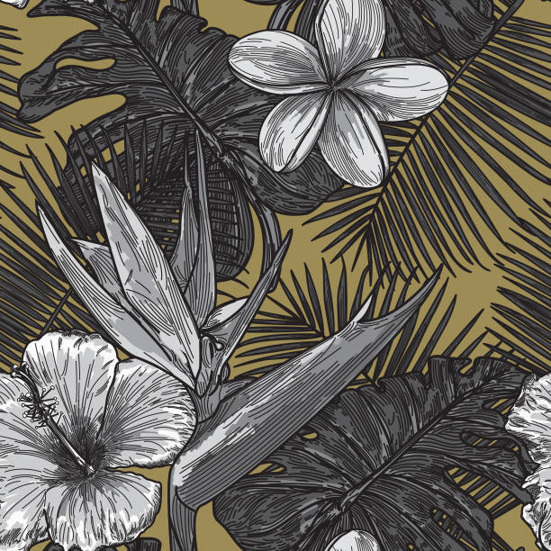 Modern Tropical Floral Pattern vector art illustration