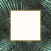 A simple line art palm frond frame. Fill it up with your add copy and images!