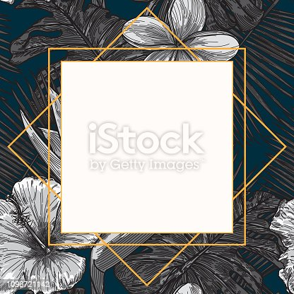 A modern graphic template frame featuring tropical palms, flowers and plants.