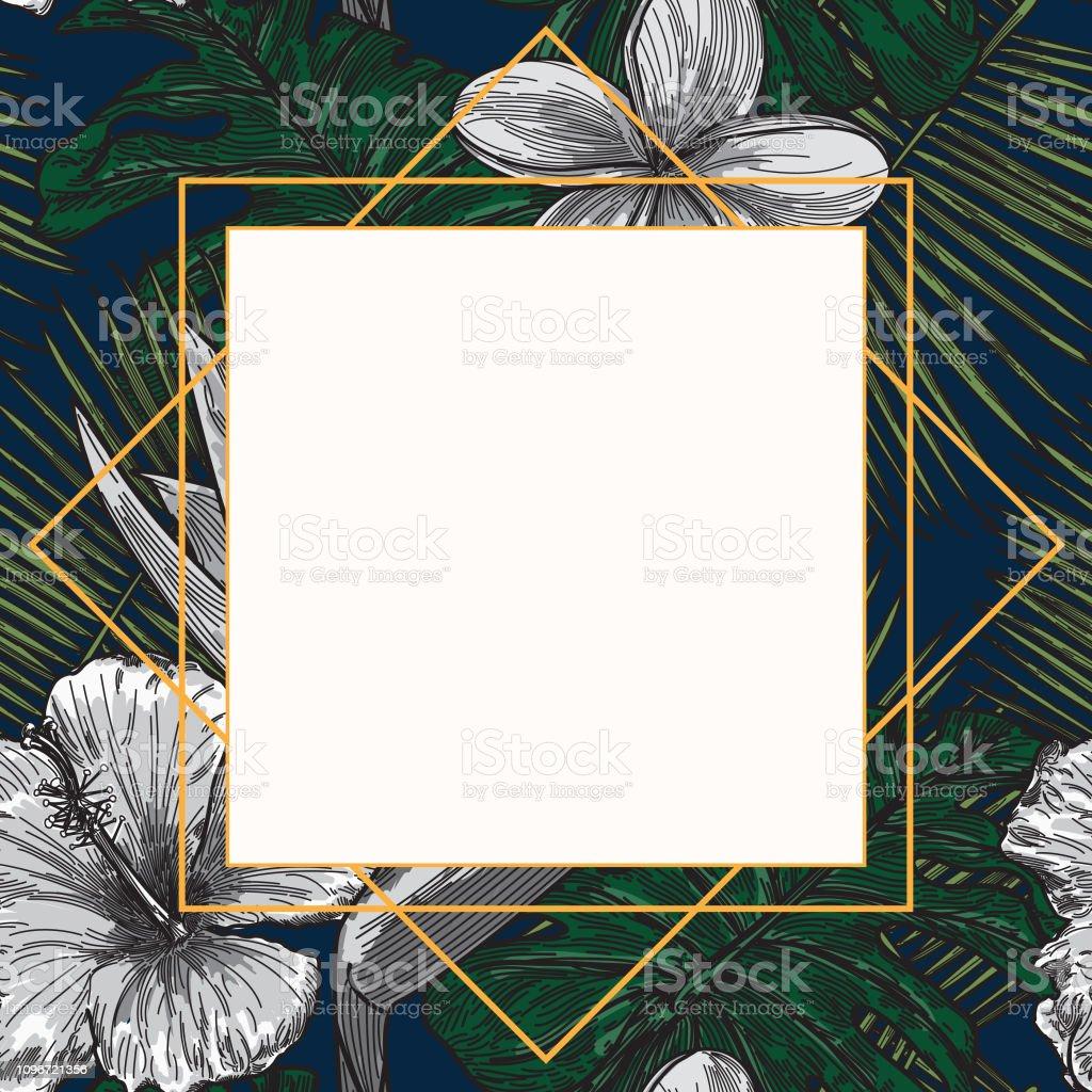 Modern Tropical Plant Frame Template vector art illustration
