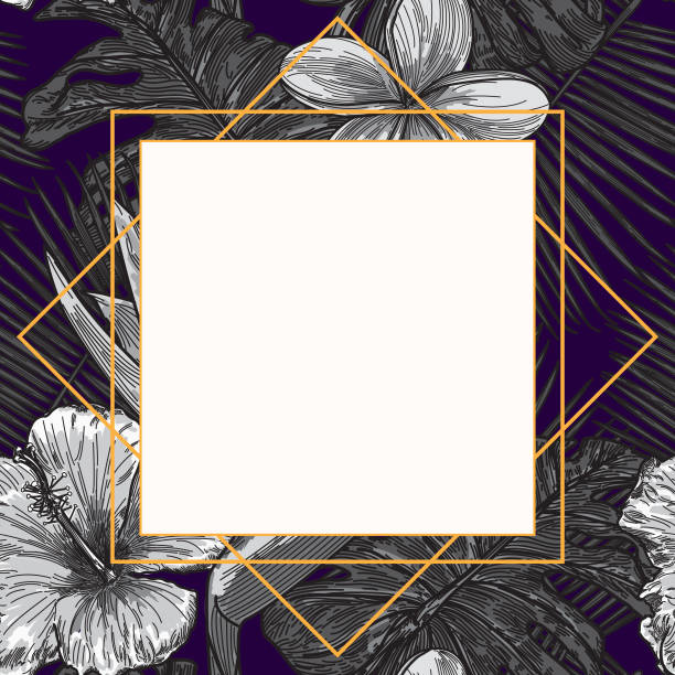 Modern Tropical Plant Frame Template vector art illustration