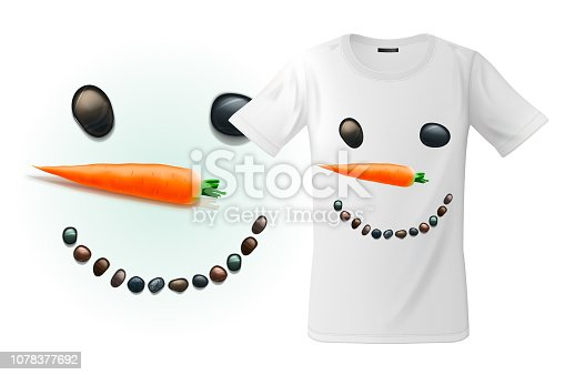 Modern t-shirt print design with funny snowman face