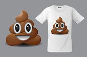 Modern t-shirt print design with shit emoticon, smiling face, emoji