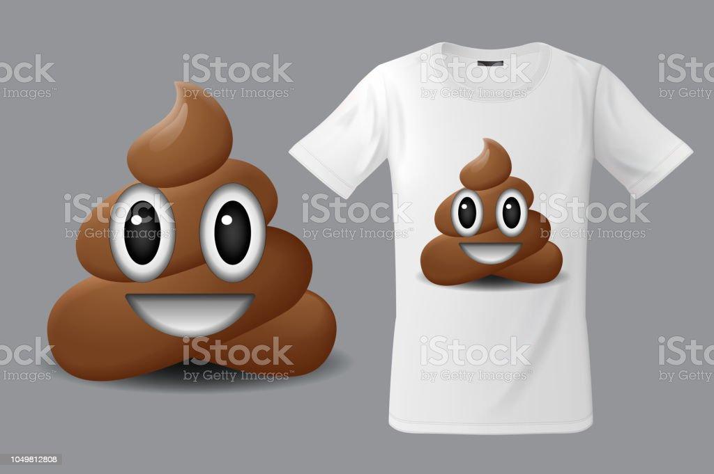 Modern t-shirt print design with shit emoticon, smiling face, emoji vector art illustration