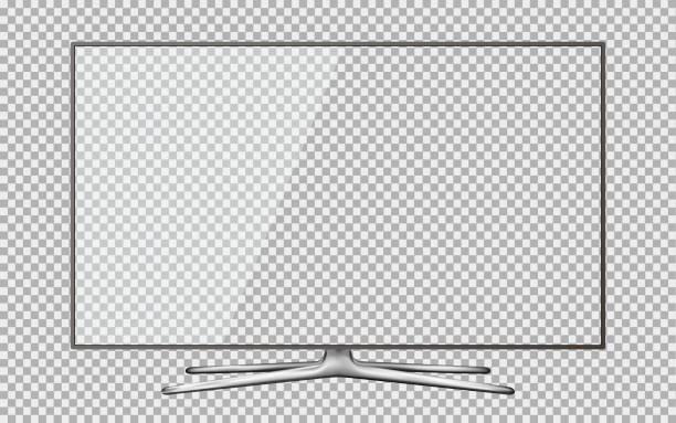 Moderne Fernseher mit transparenten Bildschirm auf transparenten Hintergrund isoliert – Vektorgrafik
