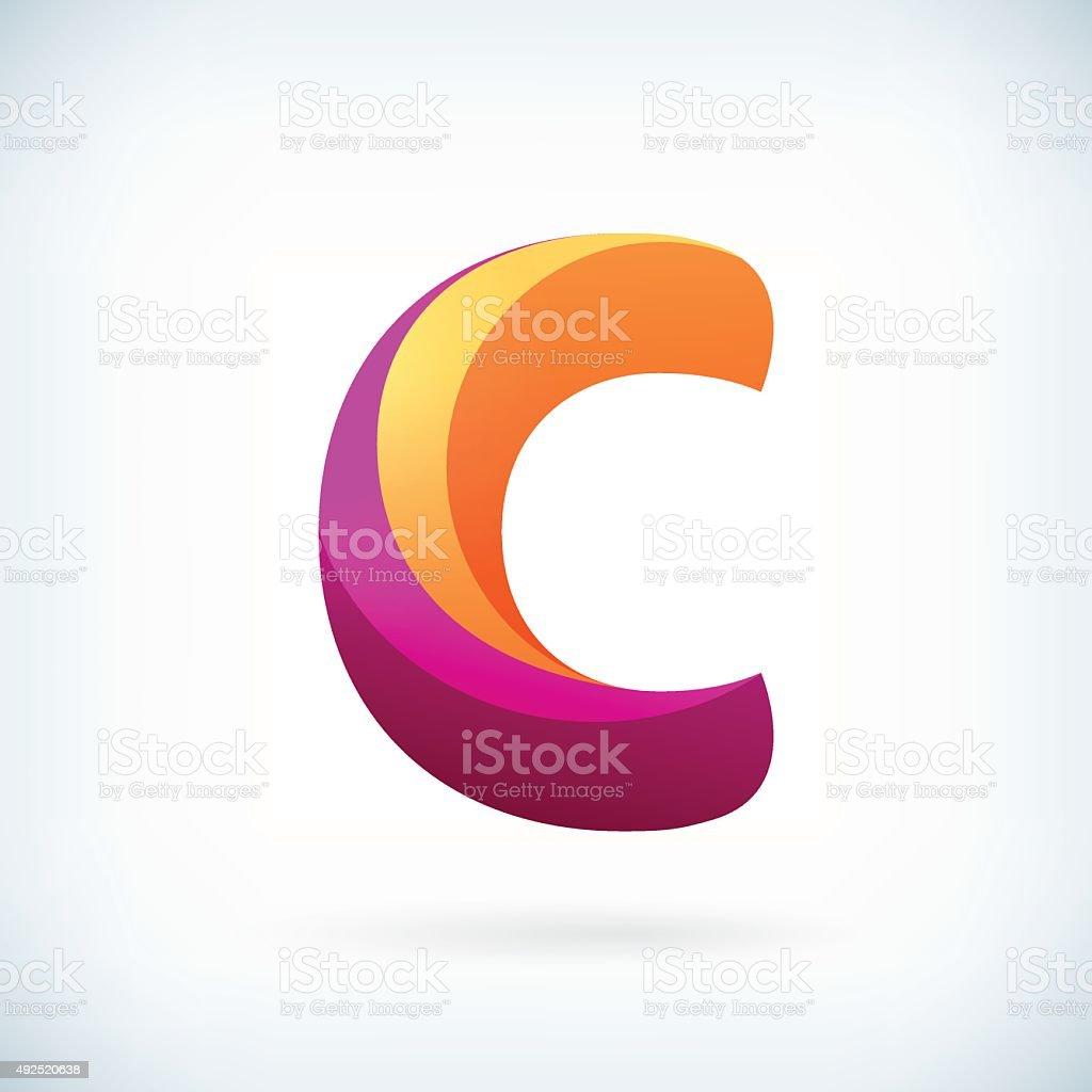 Modern twisted letter c vector art illustration