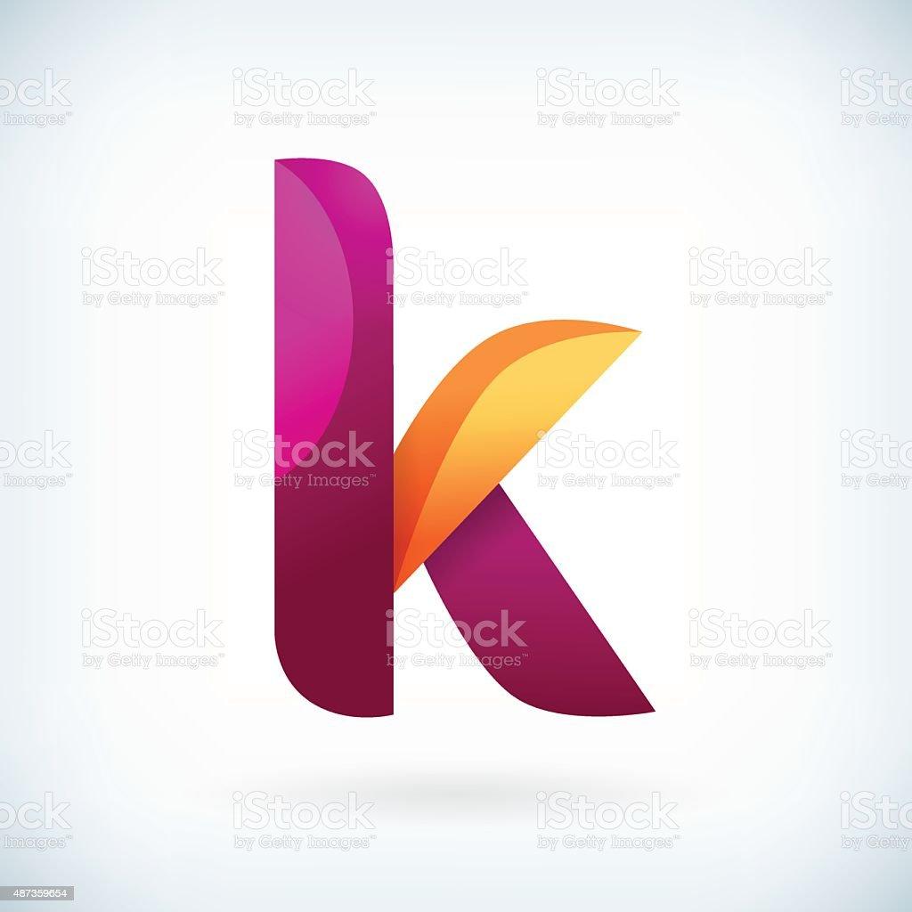 Modern twisted letter k vector art illustration