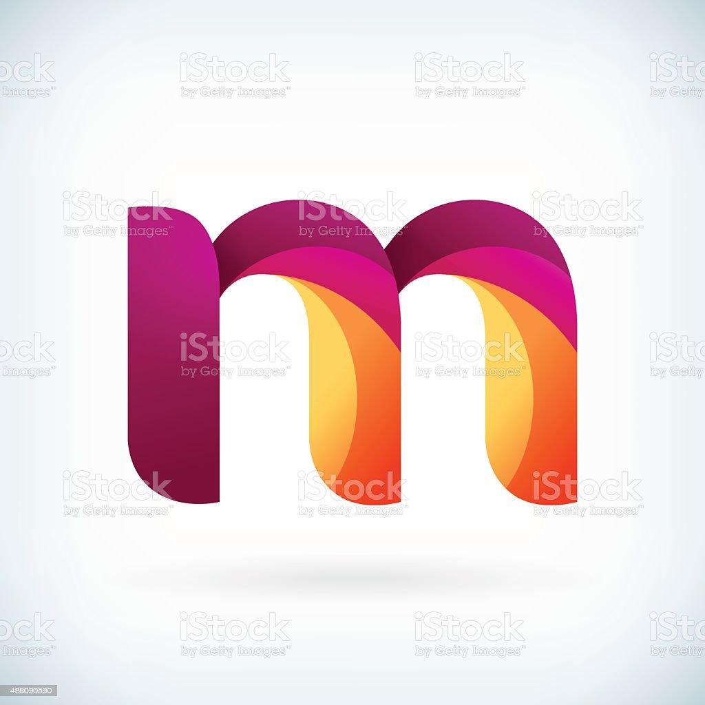 Modern twisted letter m vector art illustration