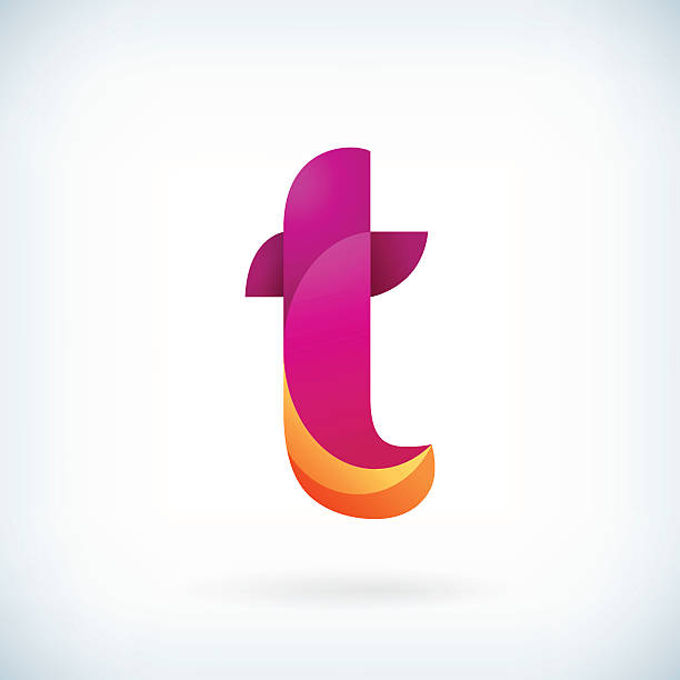 Modern twisted letter t Modern twisted letter t icon design element template letter t stock illustrations