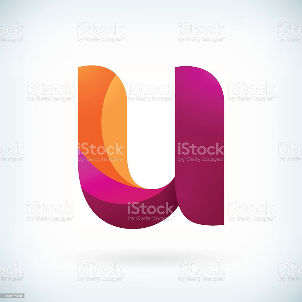 Modern twisted letter u vector art illustration