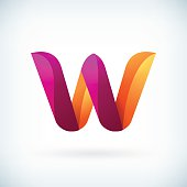 Modern twisted letter w icon design element template