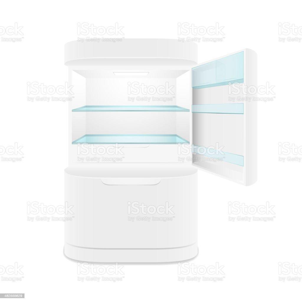 Modern two door white refrigerator vector art illustration