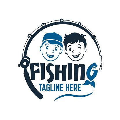 Modern two fisherman friend boys logo.