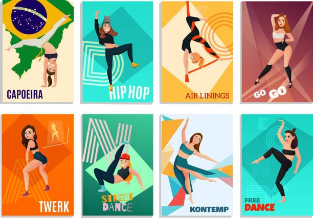 illustrations, cliparts, dessins animés et icônes de cartes de danse de types modernes - twerk
