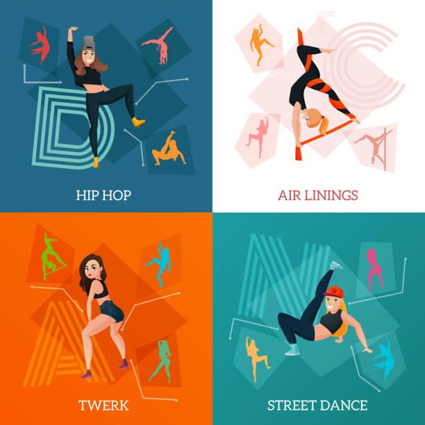 illustrations, cliparts, dessins animés et icônes de concept de danse de types modernes - twerk
