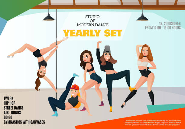 illustrations, cliparts, dessins animés et icônes de affiche de danse de type moderne - twerk