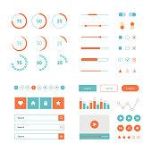 Modern UI flat design vector kit