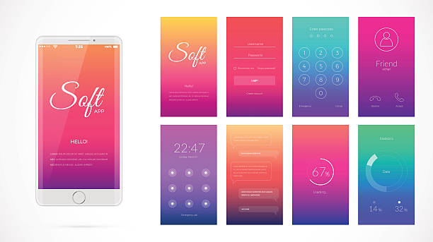 Modern UI screen design for mobile app with web icons. vector art illustration