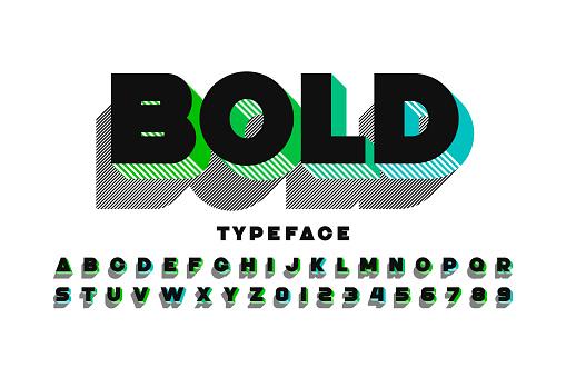 Modern Ultra Bold 3d Font - Immagini vettoriali stock e