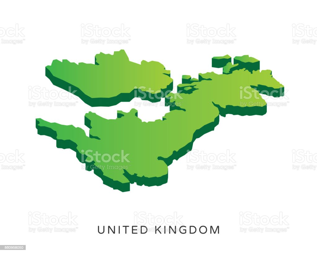 Modern United Kingdom Isometric 3D Country Map Illustration vector art illustration