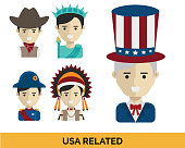 Modern United States of America Related Costume Avatar Set Illustration In Isolated White Background