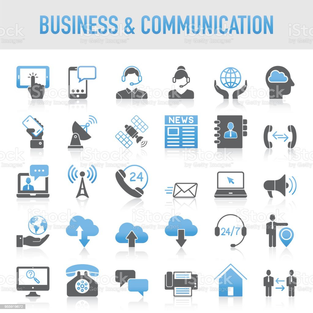 Modern Universal Business & Communication Icon Set royalty-free modern universal business communication icon set stock illustration - download image now