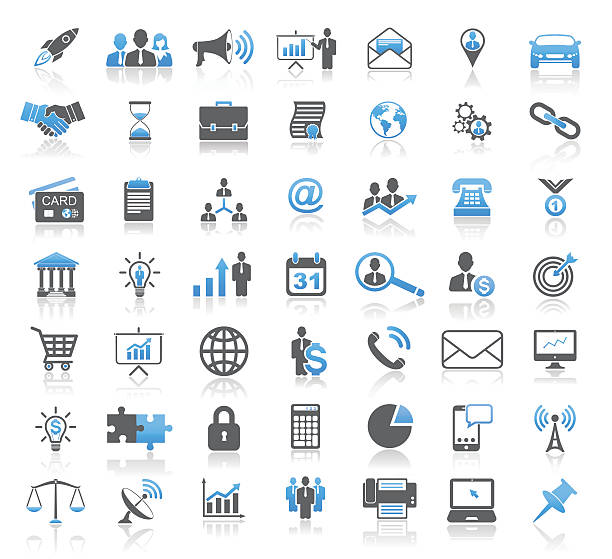 modern universal business concept icon set - business icons stock illustrations, clip art, cartoons, & icons