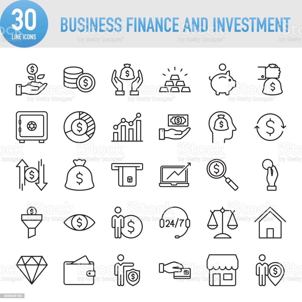 Modern Universal Business Finance and Investment Line Icon Set – artystyczna grafika wektorowa