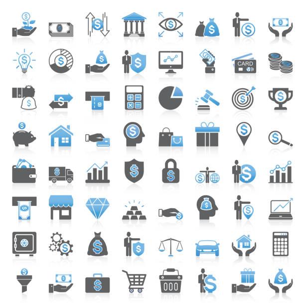Modern Universal Business & Finance Icons Collection Modern Universal Business & Finance Icons Collection business icons stock illustrations