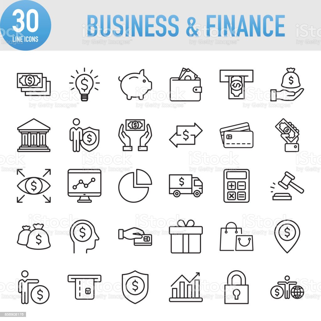 Modern Universal Business & Finance Line Icon Set royalty-free modern universal business finance line icon set stock illustration - download image now