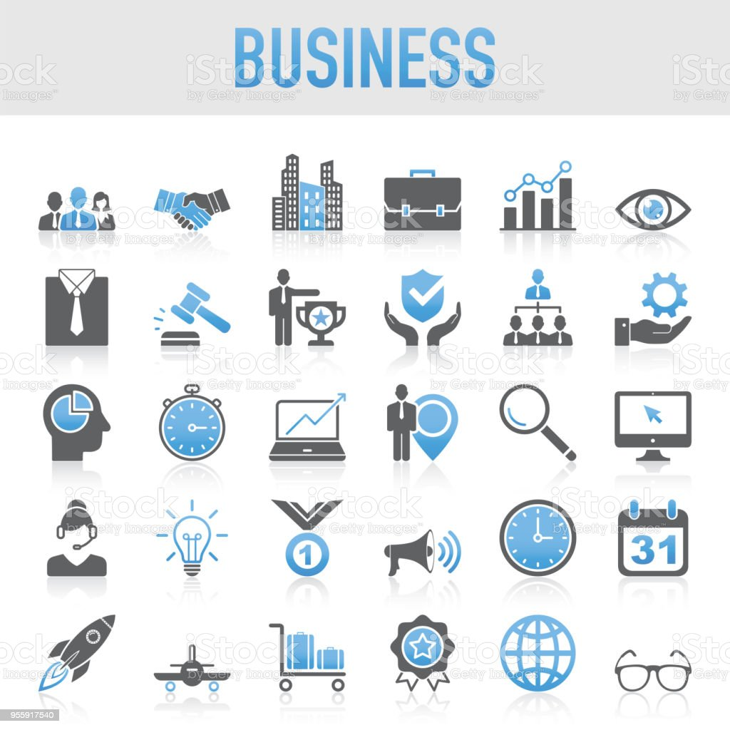 Modern Universal Business Icon Set royalty-free modern universal business icon set stock illustration - download image now