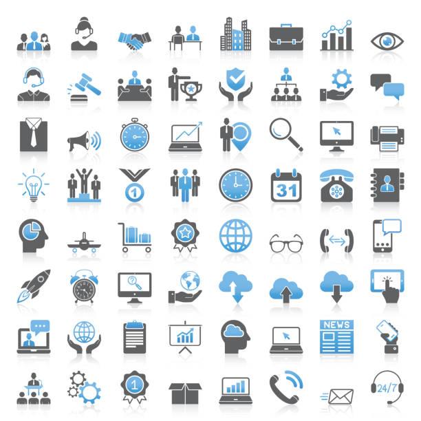 nowoczesna kolekcja uniwersalnych ikon biznesowych - produkować stock illustrations