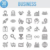 Modern Universal Business Line Icon Set