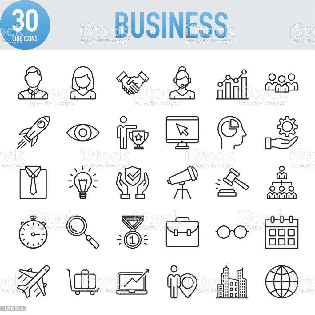 Modern Universal Business Line Icon Set vector art illustration