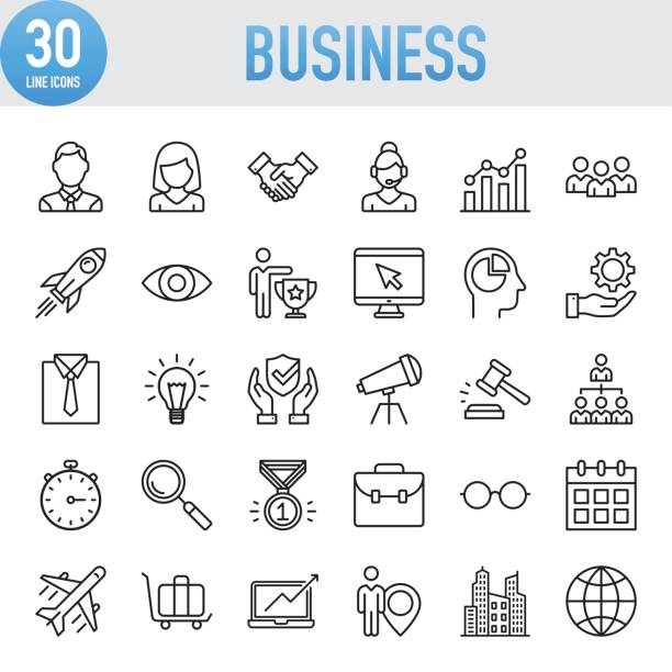 modern universal business line icon set - business icons stock illustrations, clip art, cartoons, & icons
