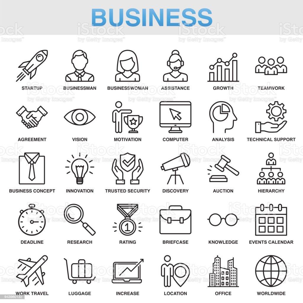 Modern Universal Business Line Icon Set