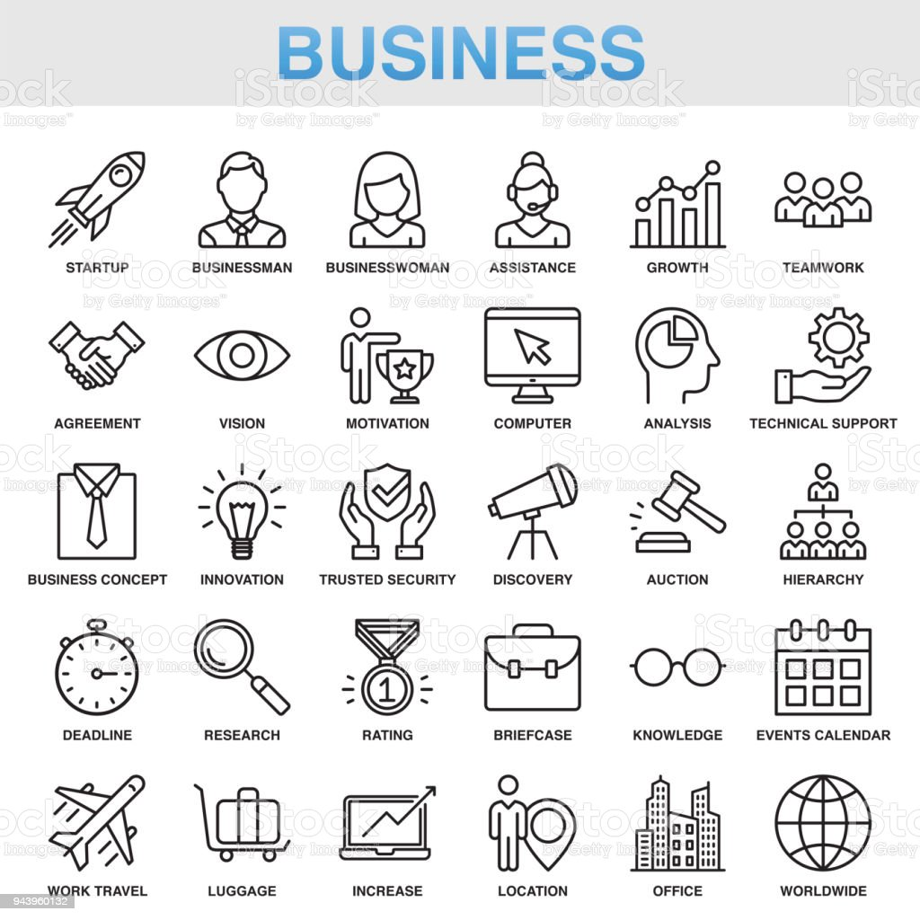 Modernen universellen Business-Line-Icon-Set – Vektorgrafik