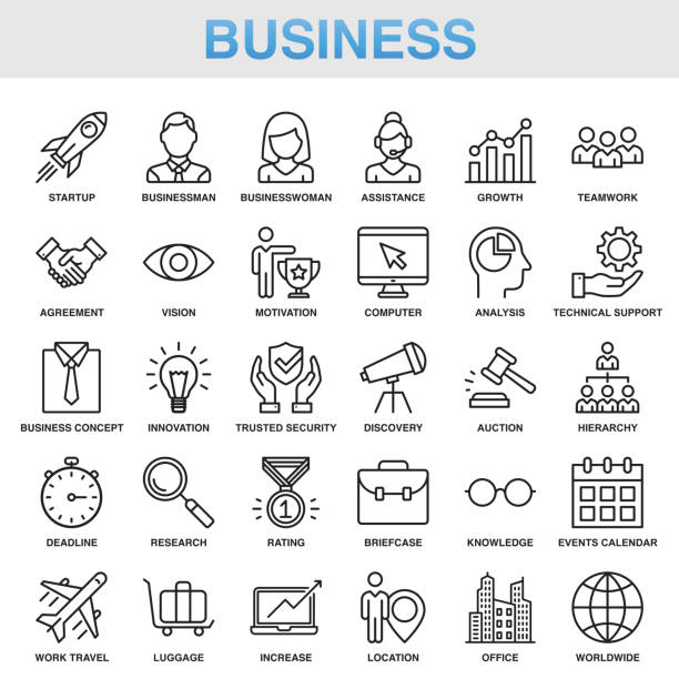 modern universal business line icon set - office job stock illustrations, clip art, cartoons, & icons