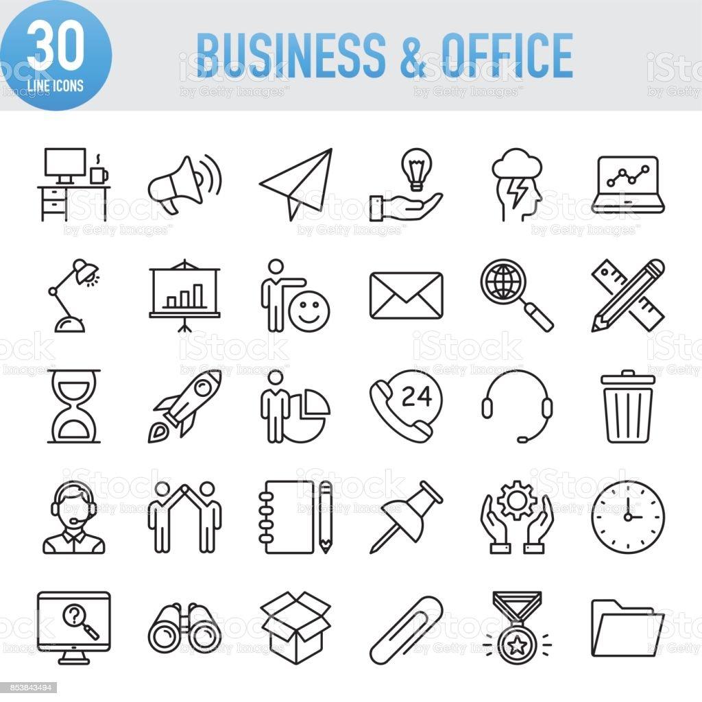 Negocio Universal moderno y conjunto de iconos de línea oficina ilustración de negocio universal moderno y conjunto de iconos de línea oficina y más vectores libres de derechos de acuerdo libre de derechos