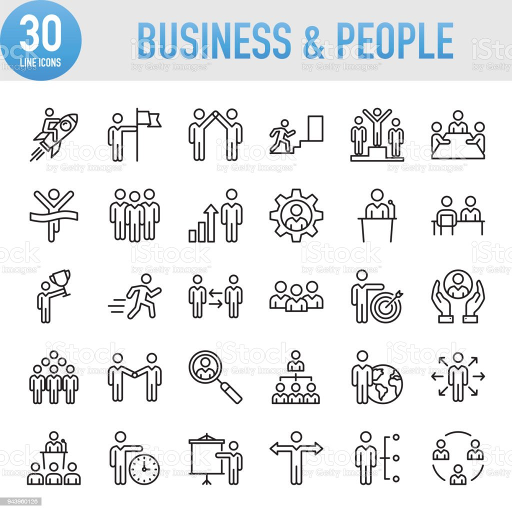 Modern Universal Business & People Line Icon Set royalty-free modern universal business people line icon set stock illustration - download image now