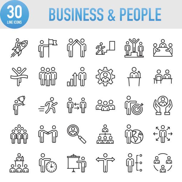 ilustrações, clipart, desenhos animados e ícones de empresarial moderno universal & pessoas linha icon set - gerente de projetos