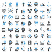 Modern Universal Business Strategy and Management Icons Collection
